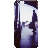 Passenger with luggage boarding old train in station blue square Hasselblad medium format film analog photo iPhone Case/Skin