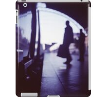 Passenger with luggage boarding old train in station blue square Hasselblad medium format film analog photo iPad Case/Skin