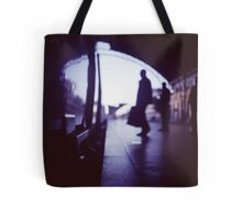 Passenger with luggage boarding old train in station blue square Hasselblad medium format film analog photo Tote Bag