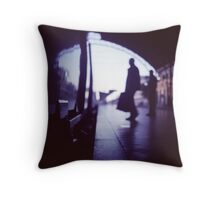 Passenger with luggage boarding old train in station blue square Hasselblad medium format film analog photo Throw Pillow