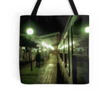Old train at night in empty station green square Hasselblad medium format film analog photograph Tote Bag
