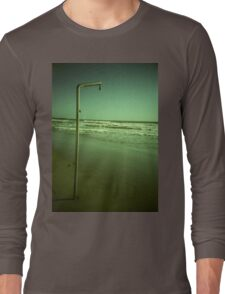 Beach shower in surreal green 35mm xpro cross processed lomographic film lomography analog photo Long Sleeve T-Shirt