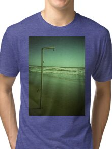 Beach shower in surreal green 35mm xpro cross processed lomographic film lomography analog photo Tri-blend T-Shirt