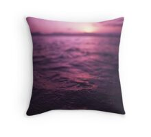 Mediterranean sea water off Ibiza Spain in surreal purple sunset evening dusk colors film analog photo Throw Pillow