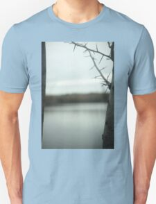 Tree branches and lake in winter in blue grey colors sky Madrid Casa de Campo Spain digital photograph Unisex T-Shirt