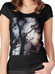 Tree branches on summer evening  in Spain square medium format film analogue photographer Women's Fitted Scoop T-Shirt