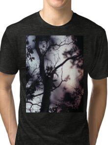 Tree branches on summer evening  in Spain square medium format film analogue photographer Tri-blend T-Shirt