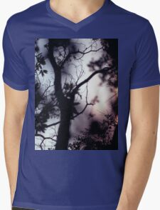 Tree branches on summer evening  in Spain square medium format film analogue photographer Mens V-Neck T-Shirt