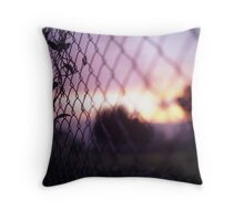 Wire fence and foliage on summer evening  in Spain square medium format film analogue photo Throw Pillow