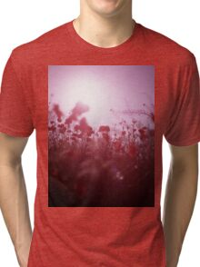 Red wild flowers poppies on hot summer day Hasselblad square medium format film analogue photography Tri-blend T-Shirt