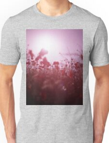 Red wild flowers poppies on hot summer day Hasselblad square medium format film analogue photography Unisex T-Shirt