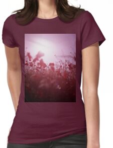 Red wild flowers poppies on hot summer day Hasselblad square medium format film analogue photography Womens Fitted T-Shirt