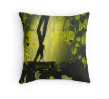 Yellow water color painted silver gelatin black and white print  of legs of female dancer analog film photo Throw Pillow