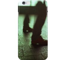 Surrealist photo of legs walking without bodies square color analogue medium format film Hasselblad photo iPhone Case/Skin