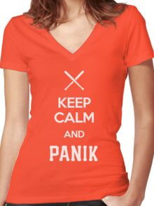 KCP - Keep Calm and Panik Women's Fitted V-Neck T-Shirt