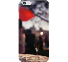 Summer rain - glass of champagne on table in garden wedding party Hasselblad  analog film still life photo iPhone Case/Skin