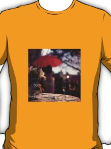 Summer rain - glass of champagne on table in garden wedding party Hasselblad  analog film still life photo T-Shirt