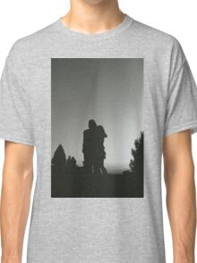 Wedding guests walking holding in silhouette at sunset in marriage party silver gelatin black and white 35mm negative analog film photo  Classic T-Shirt