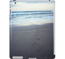 Foot prints at dawn on empty sandy beach sea side Hasselblad square medium format film analogue photograph iPad Case/Skin