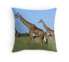 Blue skies and long necks........ Throw Pillow