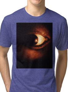 Self portrait of photographer close-up on surreal eye black and white silver gelatin analog film photo Tri-blend T-Shirt