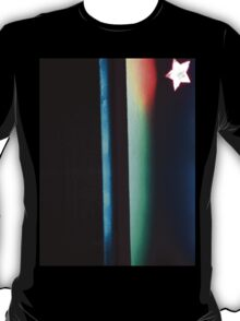 Abstract dark photo of star and lines on blackness silver gelatin color 35mm negative analog film photo  T-Shirt