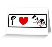 I Heart Chip 'n' Dale (Classic Logo) (Inverted) Greeting Card