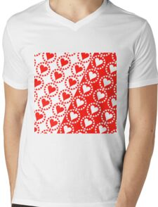 Red heart White heart Mens V-Neck T-Shirt