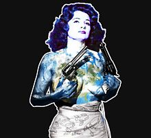 "Title: ""Keep Moving"" Queen Of Burlesque, Sexy Earth Girl with Guns T-Shirt"