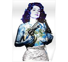"Title: ""Keep Moving"" Queen Of Burlesque, Sexy Earth Girl with Guns Poster"