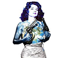 "Title: ""Keep Moving"" Queen Of Burlesque, Sexy Earth Girl with Guns Photographic Print"