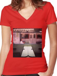 Train table and station Hasselblad medium format 120 square 6x6 negative c41 color analogue photograph Women's Fitted V-Neck T-Shirt