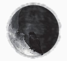 The Crow and its Moon (black and white version) Kids Clothes