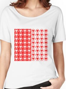 Red heart White heart-2 Women's Relaxed Fit T-Shirt