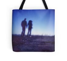 Romantic couple walking holding hands on beach in blue Medium format color negative film photo Tote Bag