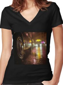 Cars in urban street on rainy night hasselblad medium format analog film photograph Women's Fitted V-Neck T-Shirt