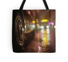 Cars in urban street on rainy night hasselblad medium format analog film photograph Tote Bag