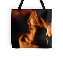 Bride and groom couple man and woman kissing in marriage wedding black and white sepia tone silver gelatin 35mm negative film photo Tote Bag