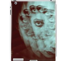 Multiple image of eye of young woman with makeup in dark analog film 35mm photo iPad Case/Skin