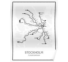 Stockholm Subway Map Geographic Poster