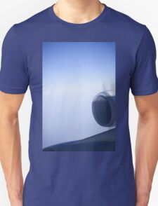 Jumbo jet airplane wing engine in flight flying over blue sky photo T-Shirt