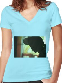 Rap hip hop singer  in bar nightclub in silhouette photograph Women's Fitted V-Neck T-Shirt