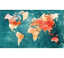 Blue and Red Map of the World - World Map for your walls Photographic Print