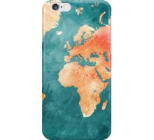 Blue and Red Map of the World - World Map for your walls iPhone Case/Skin