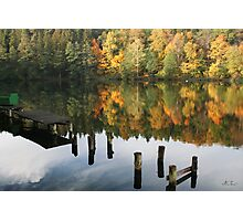The old wharf in the autumn morning in fall Photographic Print