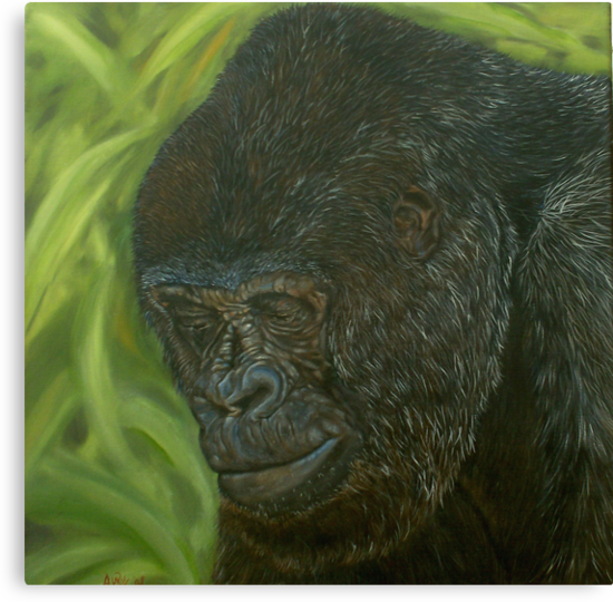 """If you could read my mind"" - Gorilla Oil painting by Avril Brand"