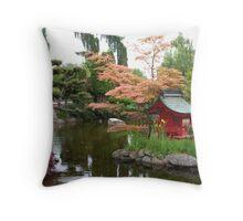 Asian Water Garden Throw Pillow