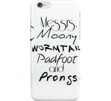 Messrs Moony, Wormtail, Padfoot and Prongs iPhone Case/Skin
