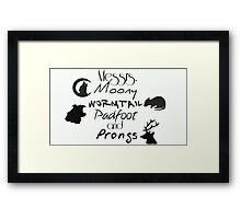 Messrs Moony, Wormtail, Padfoot and Prongs Framed Print