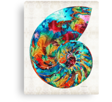 Colorful Nautilus Shell by Sharon Cummings Canvas Print